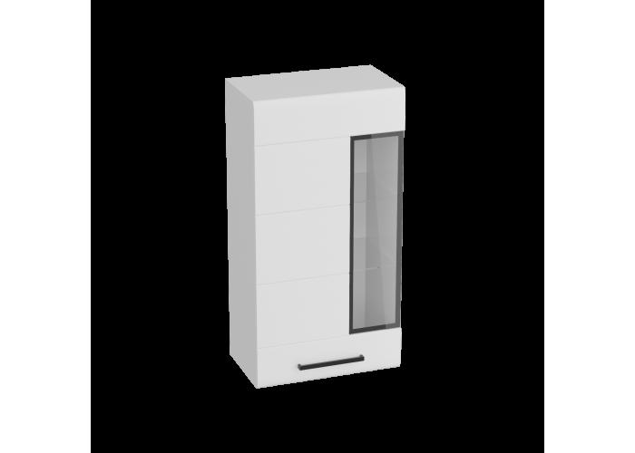 Кёльн Шкаф-витрина Белый Аляска/ Белый глянец