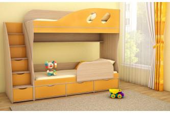 Подростковая 2-х ярусная кровать ДЕТКА дуб молочный / оранжевый