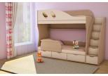 Подростковая 2-х ярусная кровать ДЕТКА дуб молочный / бежевый