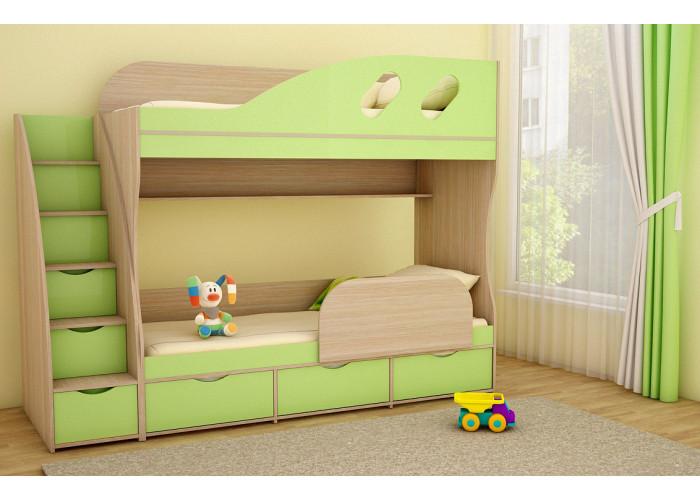 Подростковая 2-х ярусная кровать ДЕТКА дуб молочный / лайм