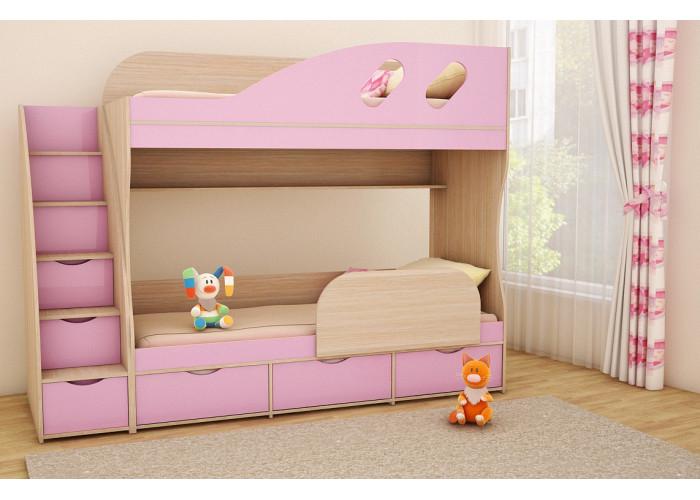Подростковая 2-х ярусная кровать ДЕТКА дуб молочный / лиловый