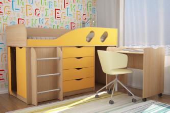 """Подростковая кровать """"Ученик"""" дуб молочный / оранжевый"""