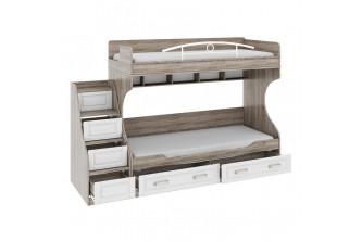 Двухъярусная кровать с лестницей с ящиками Прованс СМ-223.11.001