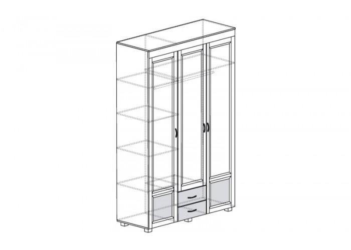 ЙО-01.13-ШК Шкаф для одежды 3-дверный с глянцевыми вставками и 2 ящиками Йорк