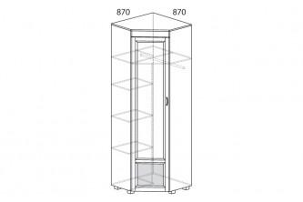 ЙО-04.3-ШК Шкаф для одежды угловой с зеркалом и глянцевыми вставками Йорк