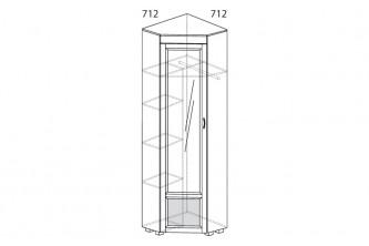 ЙО-07.4-ШК Шкаф для одежды угловой с зеркалом и глянцевой вставкой Йорк
