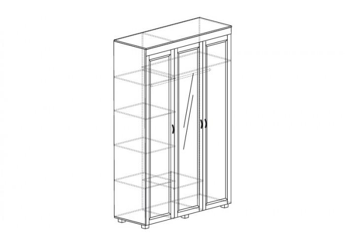 ЙО-01.1-ШК Шкаф для одежды 3-дверный с зеркалом Йорк