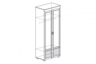 ЙО-02.2-ШК Шкаф для одежды 2-дверный с глянцевыми вставками Йорк