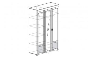 ЙО-01.3-ШК Шкаф для одежды 3-дверный с зеркалом и глянцевыми вставками Йорк