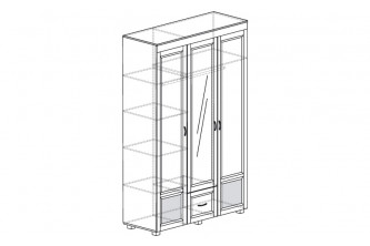 ЙО-01.10-ШК Шкаф для одежды 3-дверный с зеркалом и глянцевыми вставками Йорк