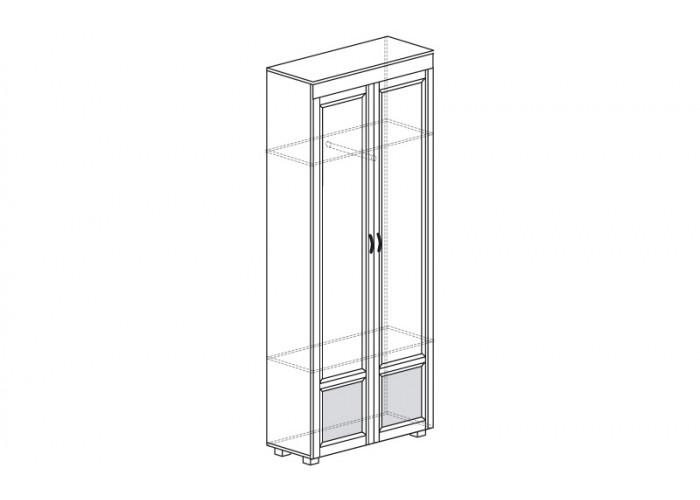ЙО-05.2-ШК Шкаф для одежды 2-дверный с глянцевыми вставками Йорк