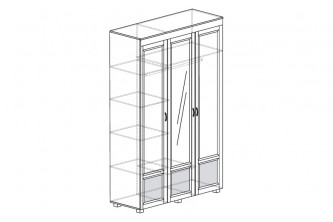 ЙО-01.4-ШК Шкаф для одежды 3-дверный с зеркалом и глянцевыми вставками Йорк
