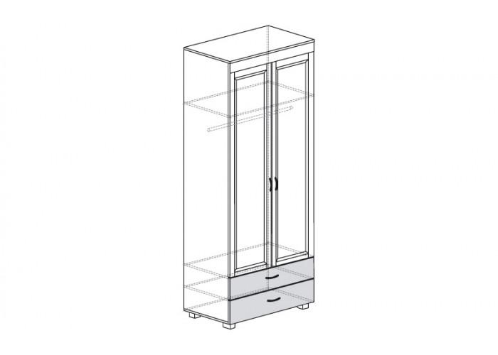 ЙО-02.4-ШК Шкаф для одежды 2-дверный с 2 ящиками Йорк