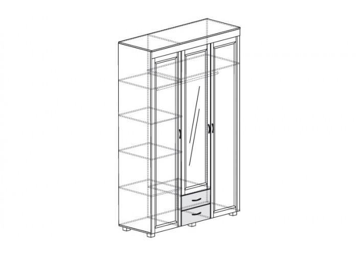 ЙО-01.6-ШК Шкаф для одежды 3-дверный с зеркалом и 2 ящиками Йорк