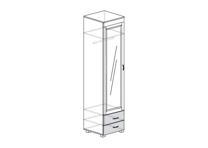 ЙО-03.10-ШК Шкаф для одежды 1-дверный с зеркалом и 2 ящиками Йорк