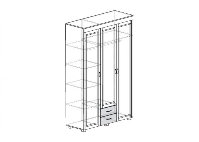 ЙО-01.7-ШК Шкаф для одежды 3-дверный с 2 ящиками Йорк