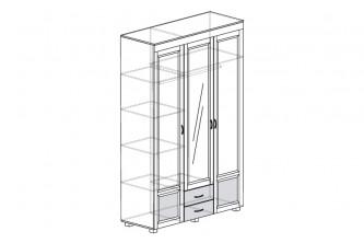 ЙО-01.12-ШК Шкаф для одежды 3-дверный с зеркалом, глянцевыми вставками и 2 ящиками Йорк