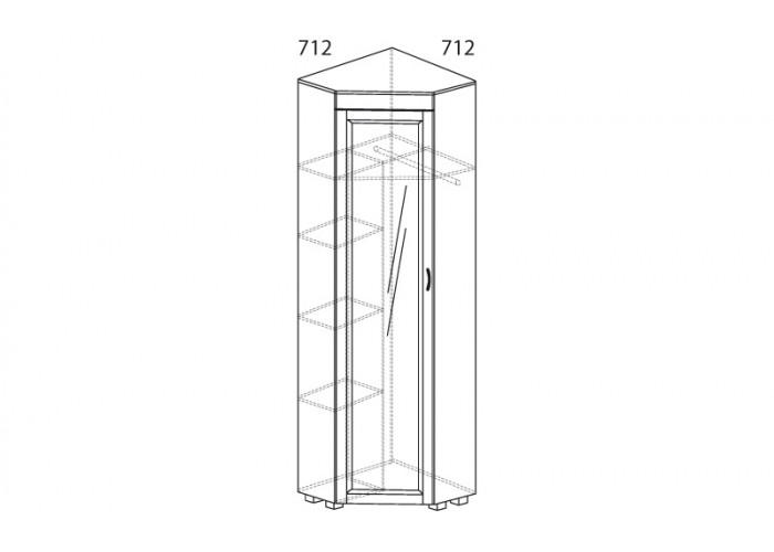 ЙО-07.2-ШК Шкаф для одежды угловой с зеркалом Йорк