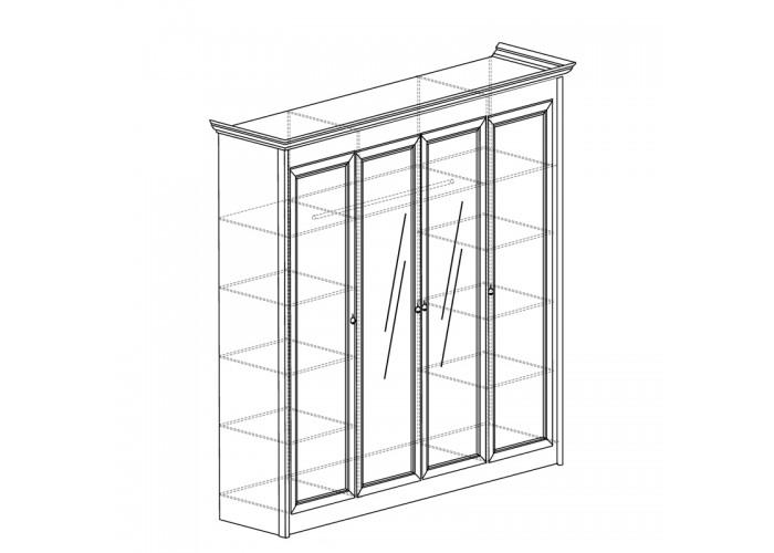 Модуль №657 Шкаф для одежды 4-дверный с зеркалом Флоренция