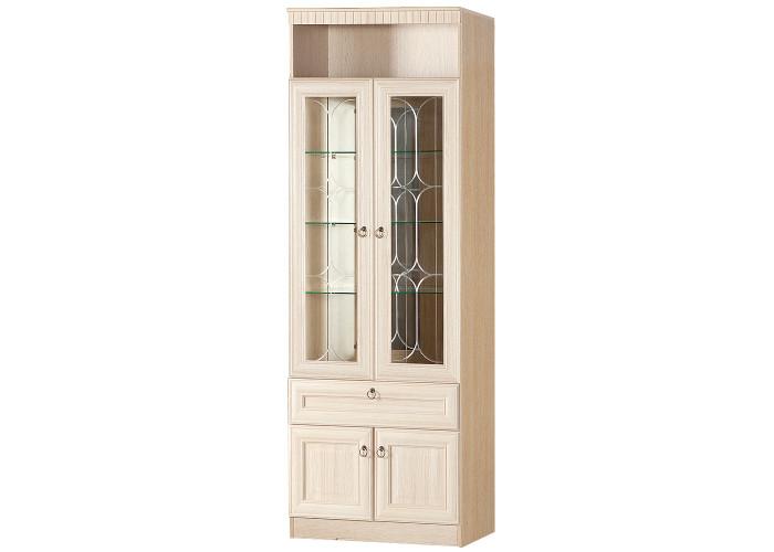 Шкаф для посуды Инна №612 (полки стекло) Денвер светлый
