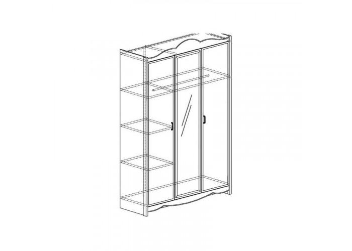 Модуль №680 Шкаф для платья и белья 3-дверный Каролина