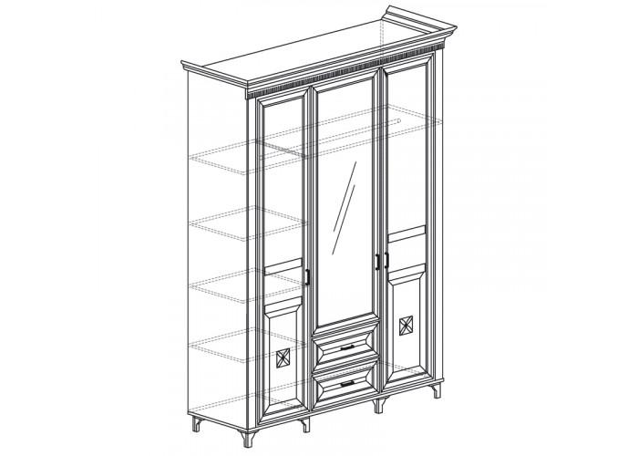 Модуль №470 Шкаф для одежды 3-дверный с зеркалом Марлен