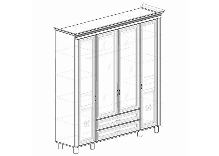 Модуль №493 Шкаф для одежды 4-дверный с зеркалом Марлен