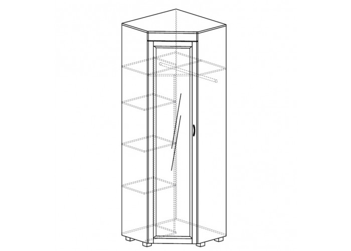 ЙО-04.4-ШК Шкаф для одежды угловой с зеркалом и глянцевой вставкой Йорк